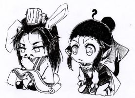 Chibi Zhuge Liang and Liu Bei by Kyo-Chans