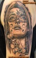 Day of the dead girl and flowers by asussman