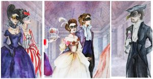 La Mascarade- triptych by Fraulein-Maria