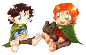 Two cute hobbits by paranormal-dog