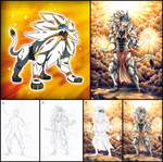 Solgaleo gijinka - Drawing process + ref by RoCkBaT