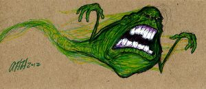 Slimer on Cardboard by gomezvsrufio