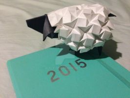 Origami Sheep for 2015 - The Year of the Sheep by aLALALAna