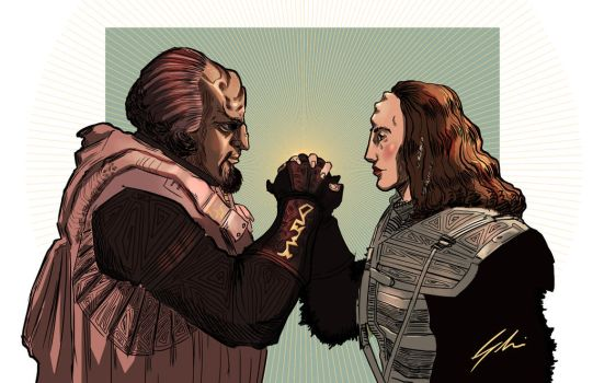 Worf and KEhleyr by SHOMARI-IRAMOHS