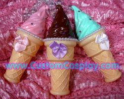 Ice cream cone necklaces by The-Cute-Storm