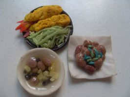 Clay miniatures Japanese food by AizaHoney