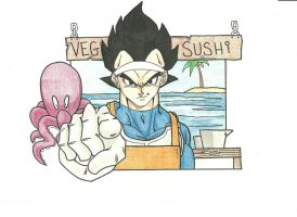 Vegeta Sushi Stand by ChaosBloodLust