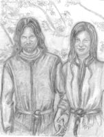 Aragorn and Comfortable Arwen by rstrider9
