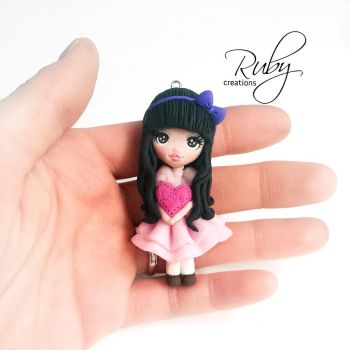 Ruby love doll, polymer clay necklace by Ruby-creations
