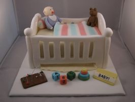 Baby Shower Cot Cake by sparks1992