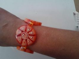 Orange slice bracelet by Redcockatiel