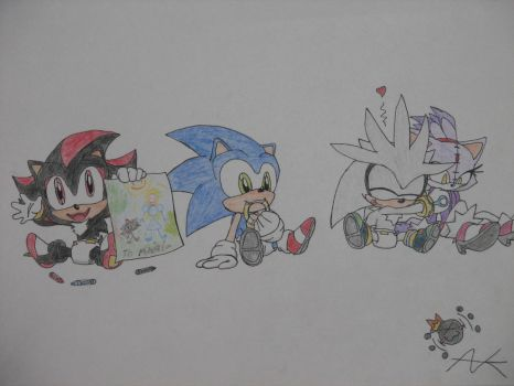 Baby Shadow, Sonic, and Silver by THEATOMBOMB035