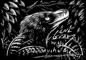 Deinonychus on Scratchboard by WhiskerfaceRumpel
