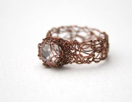 White Sapphire Copper Ring by WrappedbyDesign