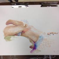 Watercolor Figure Study- Hour Pose. by marykyart