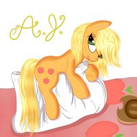 Applejack resting by FreeCandy44