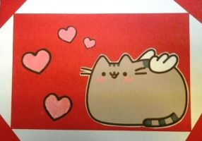 Pusheen Valentine Postcard 2 by Artymesia