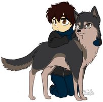 Chibi Boy and his Wolf by ToastyToastie