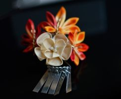 Golden Yellow and Red Mini Kanzashi for BJD by hanatsukuri