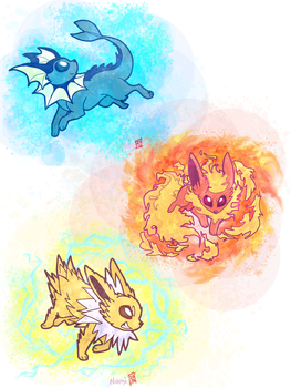 Vaporeon, Flareon and Jolteon by namiwami