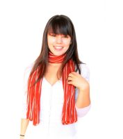 Red and White Striped Scarf by animagic4u
