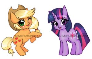 Chibi Apple Jack and Twilight Sparkle by Soul-Soar