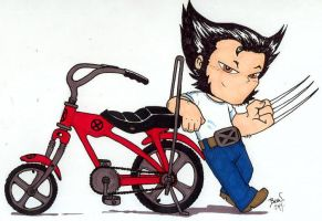 Chibi-Logan with Bike. by hedbonstudios