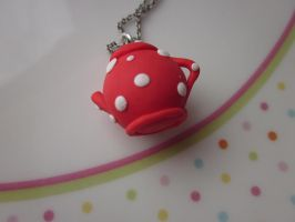 Red Teapot Necklace by JewelleryByABC