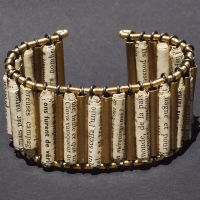 Brass Tube and Paper Bead Cuff by Tanith-Rohe
