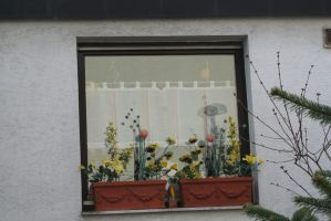 easter decoration at window by ingeline-art