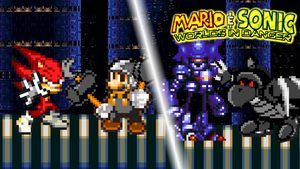 Mario and Sonic vs Basilisx and Mecha Sonic by jmkrebs30