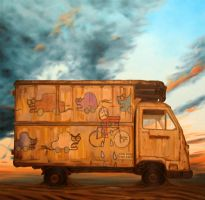 Truck with drawings by AL1970ART