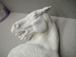 horse sculpture face by pookyhorse