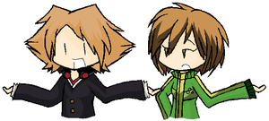 Persona 4: Yosuke and Chie by LuckyHaruAnimu-Squig