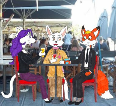 Three Friends at the Cafe by fox-mccloud