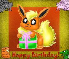 Happy Birthday GoldFlareon by racingwolf
