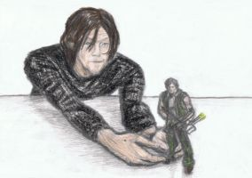Norman Reedus with Daryl Dixon figure by gagambo