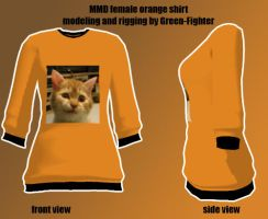 MMD female orange shirt+DL by Green-Fighter