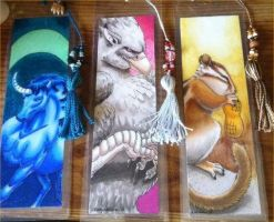 Unicorn, Gryphon and Chipmunk Bookmarks by Quelyntr