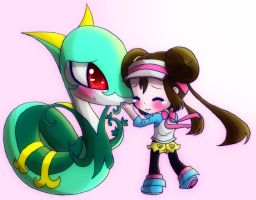 Chibi Rosa And Serperior by KawaiiHarukaChan