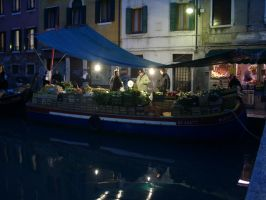 boat in venice at night by woylie