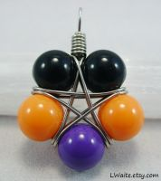 Black Orange Purple Resin Star Pendant by LWaite