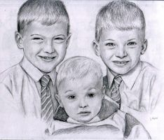 Portrait commission three boys by dashinvaine