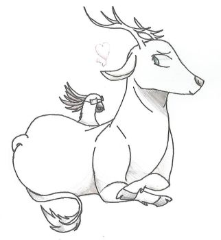 Deer And a cockatoo by AuroraFireClaw