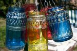 Upcycled Jar Lantern with gold Henna Style Accents by art-sisters