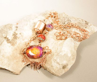 Fire Treasure Lampwork Pendant by CopperDancer