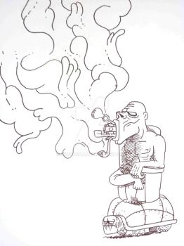 The smoking Moai by Dimodead
