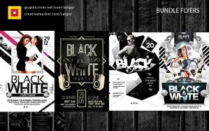 Black and White Party Flyers Bundle by satgur