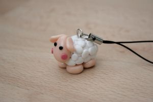sheep keyring charm by elainewhy