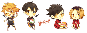 Volleyball chibis by ichi-neese